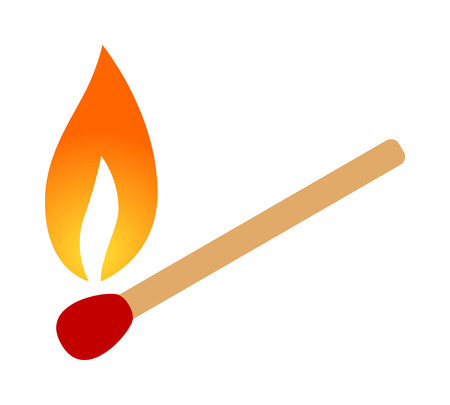 A burning match with fireflame flat color vector icon for apps and websites Ilustracja