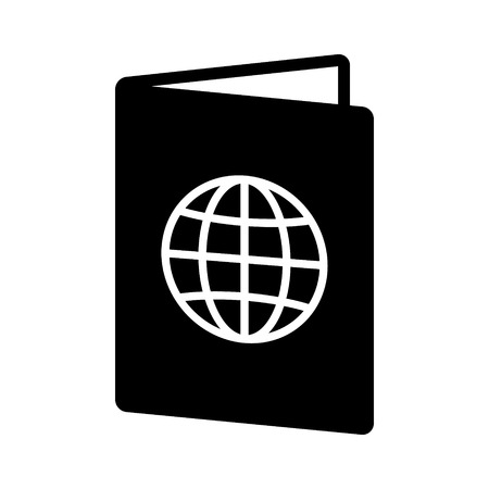 Open international travel passport booklet flat vector icon for apps and websites