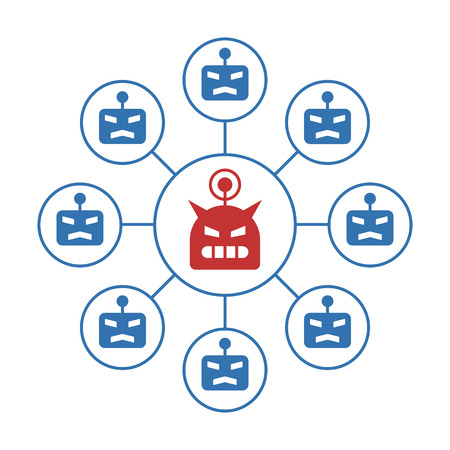 Botnet or robot network ddos cyber attack flat vector color icon for apps and websites 일러스트