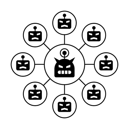 Botnet or robot network ddos cyber attack flat vector icon for apps and websites Vector Illustration
