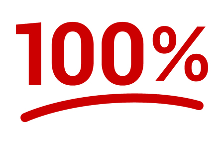Red 100% or 100 percent number with underline flat vector icon for apps and websites Ilustracja