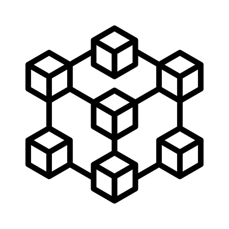 Cryptocurrency blockchain decentralized distributed network with 7 blocks flat vector icon for crypto apps and websites