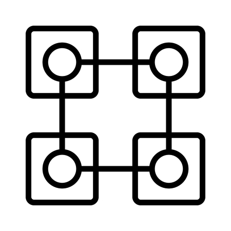 Cryptocurrency blockchain decentralized distributed network with 4 blocks flat vector icon for crypto apps and websites