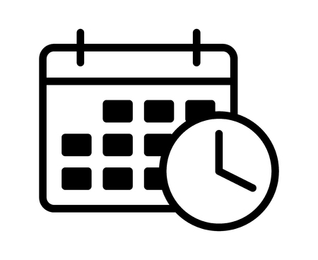 Calendario de citas de negocios con icono de vector de arte de línea de reloj de tiempo para programar aplicaciones y sitios web