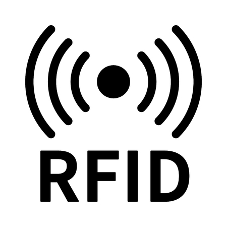 RFID or radio frequency identification with horizontal radio waves line art vector icon for apps and websites Imagens - 97555110