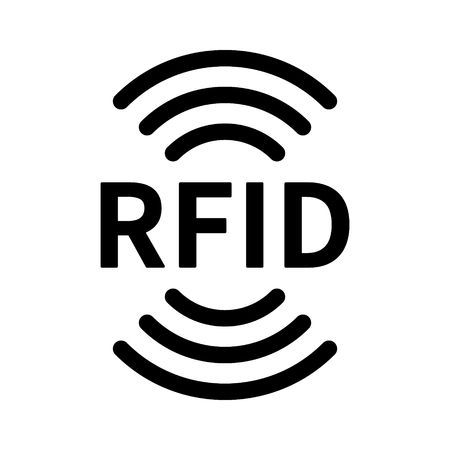RFID or radio frequency identification with vertical radio waves line art vector icon for apps and websites Иллюстрация