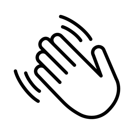 Hand wave, waving hi or hello gesture line art vector icon for apps and websites