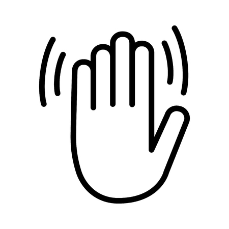 Hand wave, waving hi, hello, bye or goodbye gesture line art vector icon for apps and websites. Ilustracja