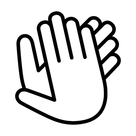 Hands clapping, applauding or ovation applause gesture line art icon for apps and websites.