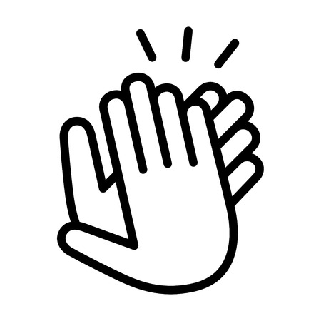 Hands clapping, applauding or ovation applause gesture making noise line art icon for apps and websites