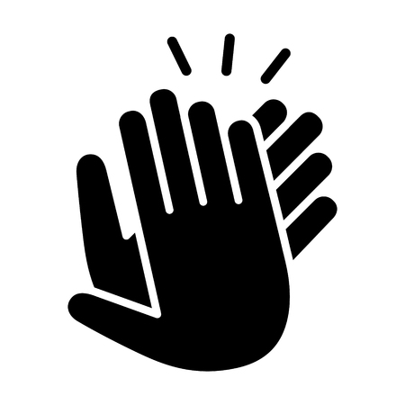 Hands clapping, applauding or ovation applause gesture making noise flat icon for apps and websites Ilustração