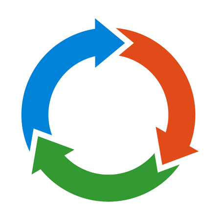 Three circle arrows in a round rotating circular motion flat vector color icon for apps and websites