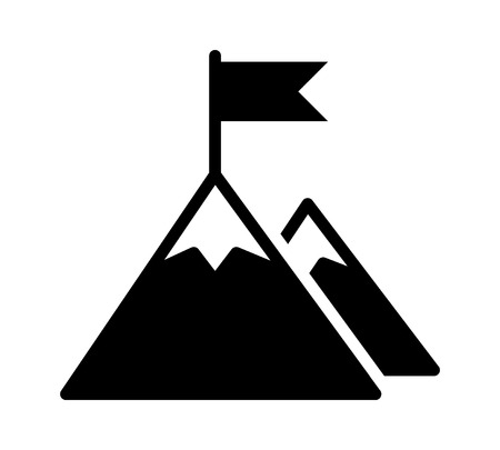 Mountain peak top with flag or goal with high ambitions. Flat vector icon for apps and websites. Vectores