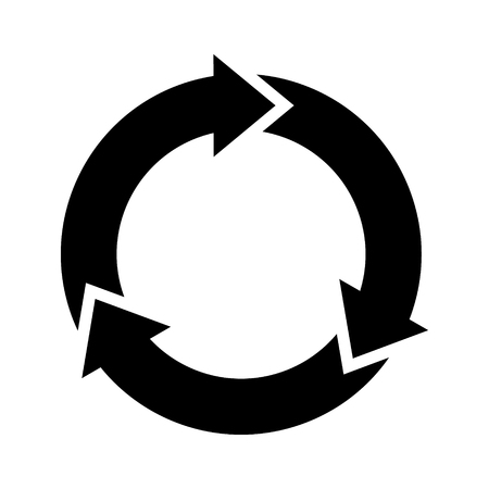 Three circle arrows in a round rotating circular motion flat vector icon for apps and websites