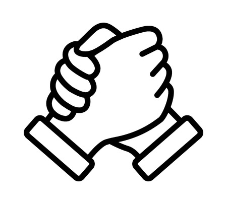 Soul brother handshake, thumb clasp handshake or homie handshake line art vector icon for apps and websites 일러스트