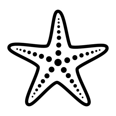Common starfish or sea star fish marine life line art vector icon for apps and websites Иллюстрация
