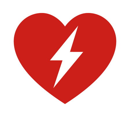 Red automated external defibrillator  aed sign with heart and electricity symbol flat vector icon