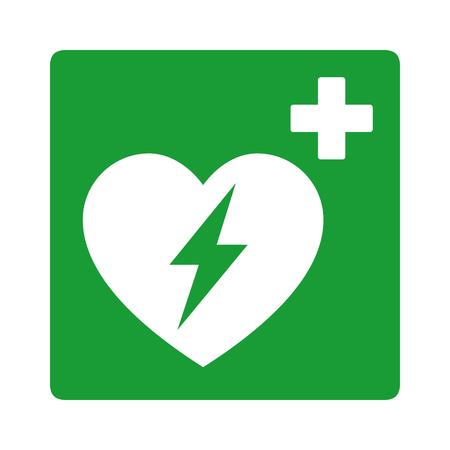 Defibrillatore / segno aed esterno automatizzato verde con l'icona piana di vettore di simbolo di elettricità e del cuore
