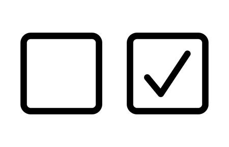 Casilla de verificación con icono de vector de arte de línea de casilla de verificación en blanco y marcado para aplicaciones y sitios web. Ilustración de vector