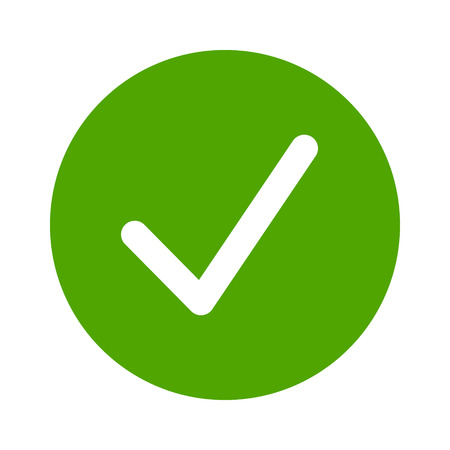 Green check circle, done or complete flat vector icon for apps and websites. Illusztráció
