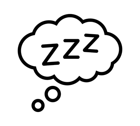 Sleeping, zzz or slumber in thought bubble vector icon for sleep apps and websites