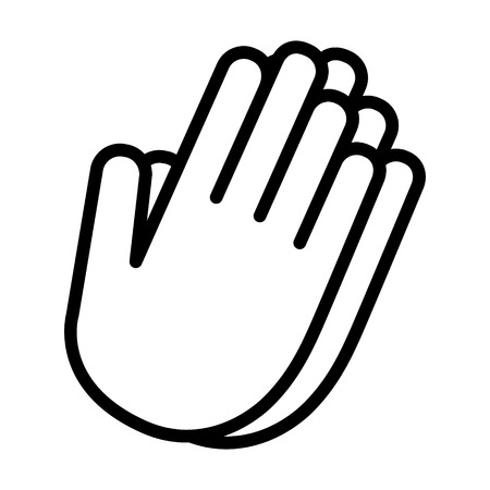 Pray or hands together in prayer line art vector icon for religious apps and websites