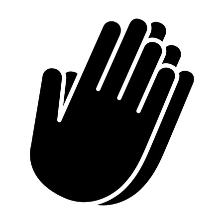 Pray worship or hands together in prayer flat vector icon for religious apps and websites