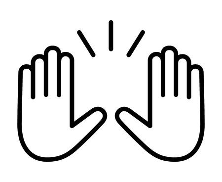 Handen opsteken om lijntekeningen vectorpictogram voor apps en websites te vieren
