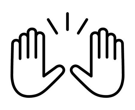 Raising hands to celebrate line art vector icon for apps and websites 向量圖像