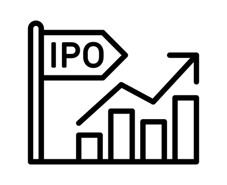 IPO - initial public offering or stock market launch line art vector icon for finance apps and websites