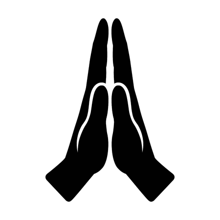 Pray or hands together in religious prayer flat vector icon for apps and websites