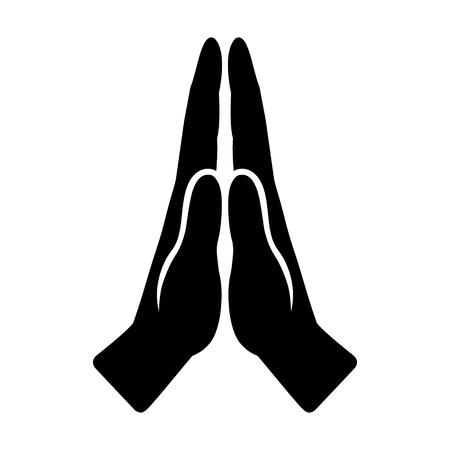 Pregate o mani insieme nell'icona di vettore piatto di preghiera religiosa per app e siti Web