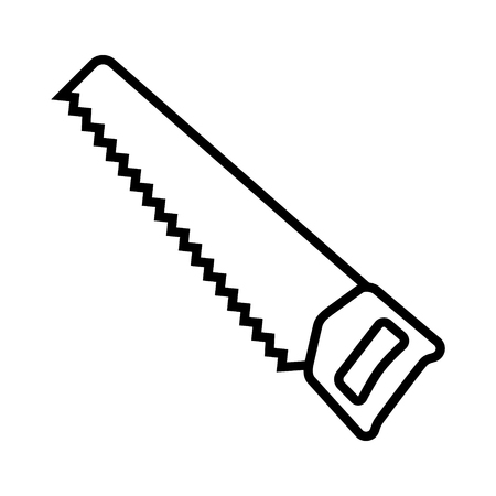 Hand saw or handsaw carpentry tool line art vector icon for apps and websites