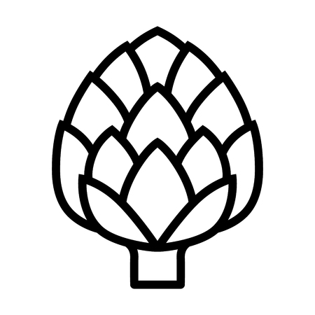 Globe artichoke thistle flower bud line art vector icon for food apps and websites