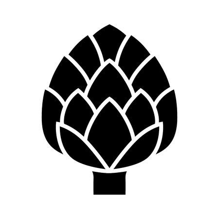 Globe artichoke thistle flower bud flat vector icon for food apps and websites Vettoriali