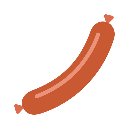 Cooked sausage meat link or wiener dog flat vector icon for food apps and websites