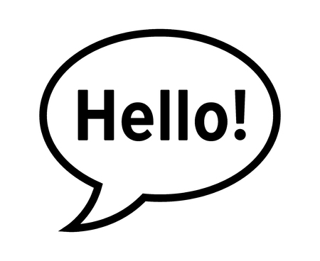 Cartoon speech bubble or dialogue balloon with the word Hello greeting line art icon for comic apps and websites