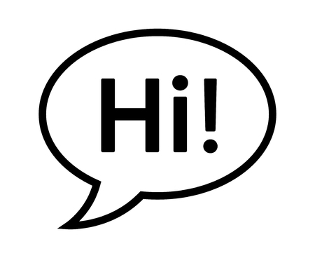 Cartoon speech bubble or dialogue balloon with the word Hi greeting line art icon for comic apps and websites