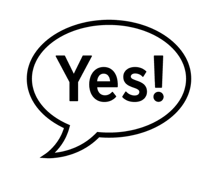 Cartoon speech bubble or dialogue balloon with the word 'Yes' in it line art icon for comic apps and websites