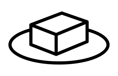 A block of tofu or butter on a plate line art vector icon for food apps and websites Banco de Imagens - 100870776