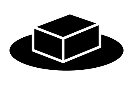 A block of tofu or butter on a plate flat vector icon Banco de Imagens - 100915597