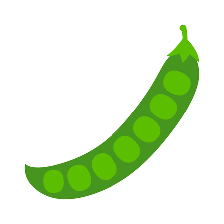 Peas in a peapod or pea pod flat vector color icon for food apps and websites