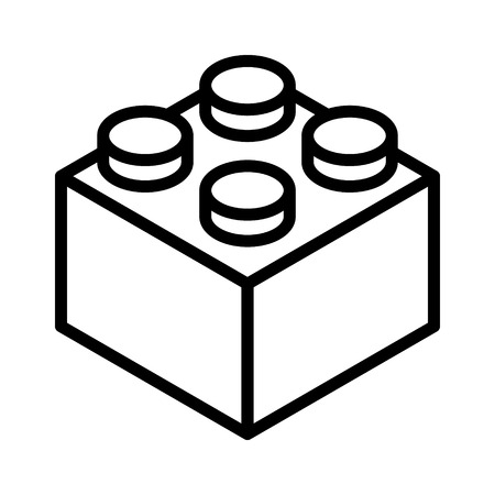 brick block or piece line art vector icon for toy apps and websites