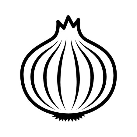 Bulb onion or common onion vegetable line art vector icon for food apps and websites Ilustracja