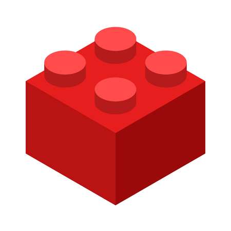 Red brick block or piece flat vector color icon for toy apps and websites