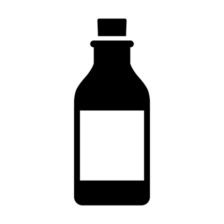 Vintage glass bottle with cork stopper flat vector icon for apps and websites Vectores