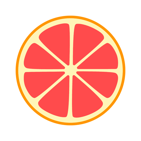 Red grapefruit split half slice flat vector icon for fruit apps and websites