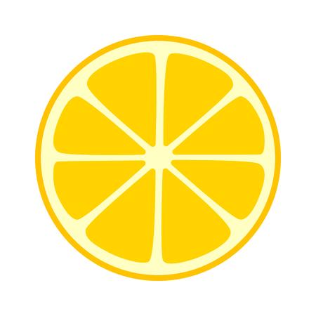 Lemon citrus split half slice or cross section flat icon for fruit apps and websites