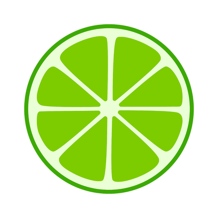Lime citrus split half slice flat icon for fruit apps and websites