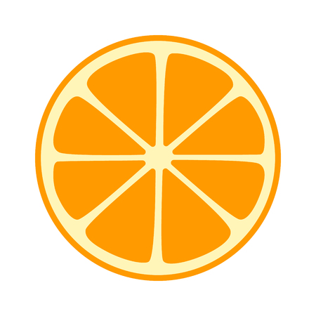Orange, tangerine or mandarin split half slice flat vector icon for fruit apps and websites